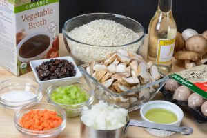 Ingredients used to make Sausage, Mushroom and Raisin Risotto by Your Allergy Chefs