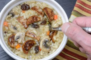 Allergen-free Sausage, Mushroom and Raisin Risotto by Your Allergy Chefs