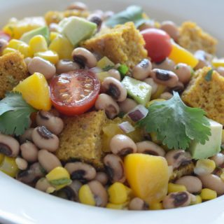 A great Black-Eyed Pea and Cornbread Panzanella Salad for ringing in the New Year.