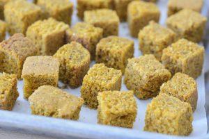 Sweet Potato Cornbread Cubes for Black-Eyed Pea and Cornbread Panzanella Salad