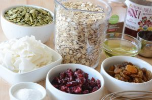 Mise en place for making Toasted Coconut and Pumpkin Seed Granola