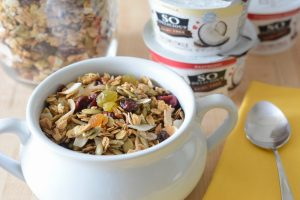 Breakfast with granola and yogurt by Your Allergy Chefs