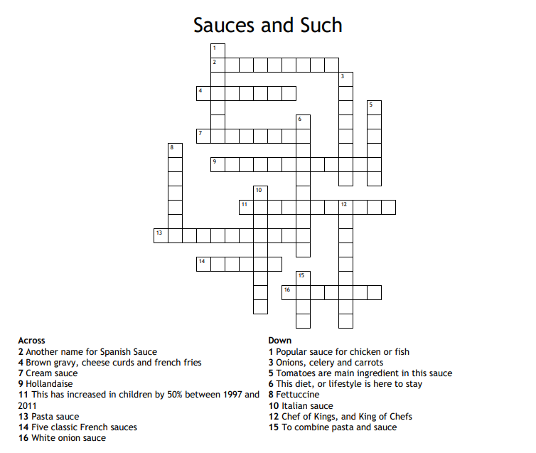 Culinary Crossword Puzzles