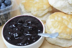 Homemade Blueberry Jam with biscuits