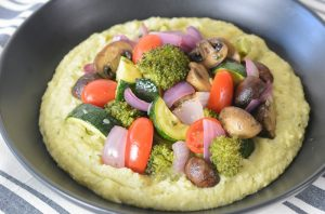 Cauliflower polenta with the best roasted vegetables