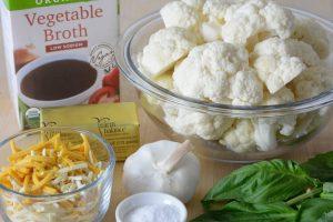 Cauliflower polenta mise en place