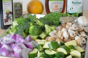 Mise en place for roasted vegetables