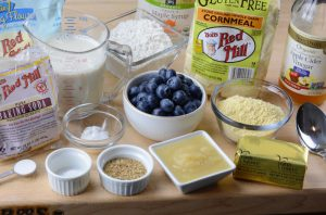 mise en place for blueberry corn cakes