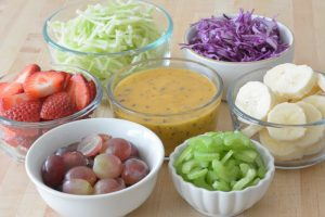 mise en place for Fruit and Broccoli Slaw