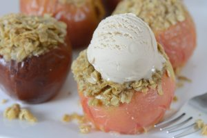 allergy-friendly and vegan streusel stuffed baked apples with ice cream