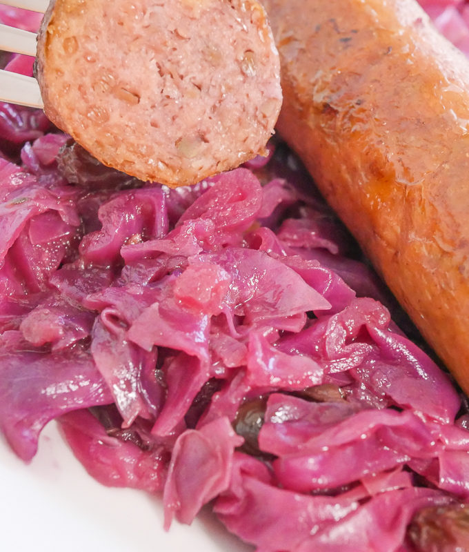 German Red Cabbage with brats
