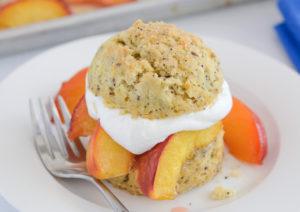 Allergy friendly roasted peach shortcake recipe