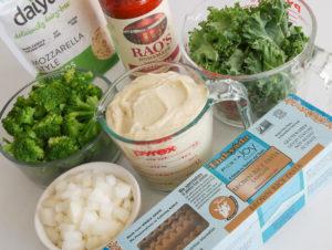 mise en place for Garden Veggie Lasagna