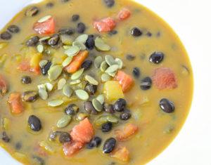 allergen free pumpkin and black bean soup