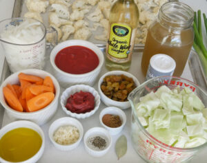 mise en place for roasted cauliflower stew