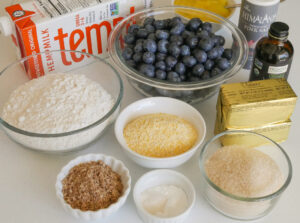 mise en place for blueberry poundcake